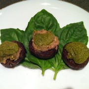 Cashew Stuffed Mushrooms with Pesto