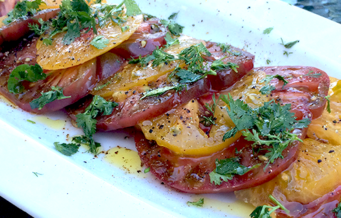 Heirloom Tomatoes with fresh basil